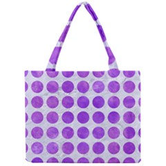 Circles1 White Marble & Purple Watercolor (r) Mini Tote Bag by trendistuff