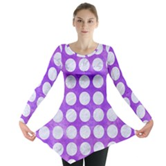 Circles1 White Marble & Purple Watercolor Long Sleeve Tunic