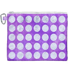 Circles1 White Marble & Purple Watercolor Canvas Cosmetic Bag (xxxl) by trendistuff