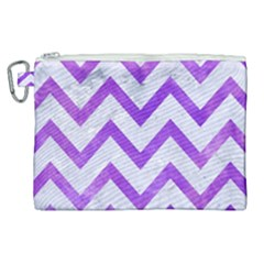 Chevron9 White Marble & Purple Watercolor (r) Canvas Cosmetic Bag (xl)