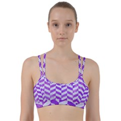 Chevron1 White Marble & Purple Watercolor Line Them Up Sports Bra by trendistuff