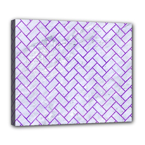 Brick2 White Marble & Purple Watercolor (r) Deluxe Canvas 24  X 20   by trendistuff