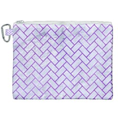 Brick2 White Marble & Purple Watercolor (r) Canvas Cosmetic Bag (xxl) by trendistuff