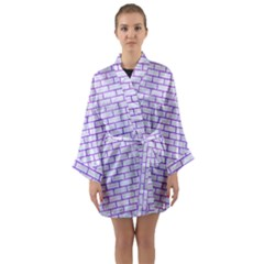 Brick1 White Marble & Purple Watercolor (r) Long Sleeve Kimono Robe