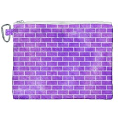 Brick1 White Marble & Purple Watercolor Canvas Cosmetic Bag (xxl) by trendistuff