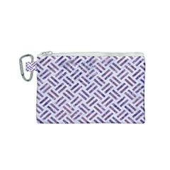 Woven2 White Marble & Purple Marble (r) Canvas Cosmetic Bag (small) by trendistuff