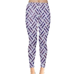 Woven2 White Marble & Purple Marble (r) Inside Out Leggings