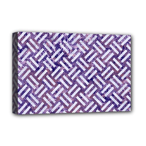 Woven2 White Marble & Purple Marble Deluxe Canvas 18  X 12   by trendistuff