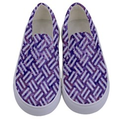 Woven2 White Marble & Purple Marble Kids  Canvas Slip Ons