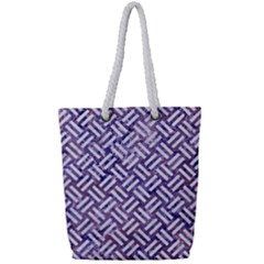 Woven2 White Marble & Purple Marble Full Print Rope Handle Tote (small) by trendistuff