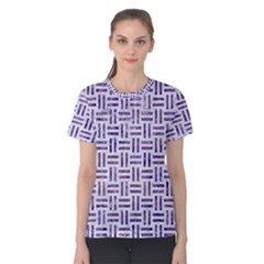 Woven1 White Marble & Purple Marble (r) Women s Cotton Tee by trendistuff