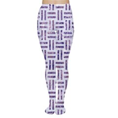 Woven1 White Marble & Purple Marble (r) Women s Tights by trendistuff
