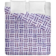 Woven1 White Marble & Purple Marble (r) Duvet Cover Double Side (california King Size) by trendistuff