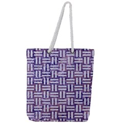 Woven1 White Marble & Purple Marble Full Print Rope Handle Tote (large) by trendistuff