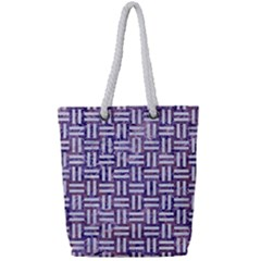 Woven1 White Marble & Purple Marble Full Print Rope Handle Tote (small) by trendistuff