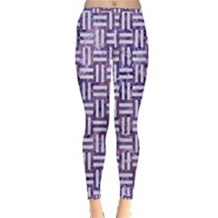 Woven1 White Marble & Purple Marble Inside Out Leggings by trendistuff