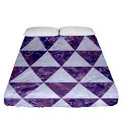 Triangle3 White Marble & Purple Marble Fitted Sheet (queen Size)
