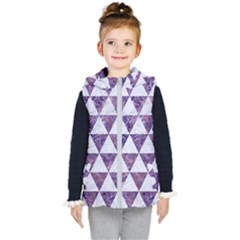 Triangle3 White Marble & Purple Marble Kid s Hooded Puffer Vest