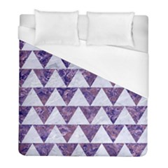 Triangle2 White Marble & Purple Marble Duvet Cover (full/ Double Size) by trendistuff