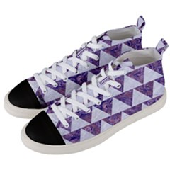 Triangle2 White Marble & Purple Marble Men s Mid Top Canvas Sneakers by trendistuff