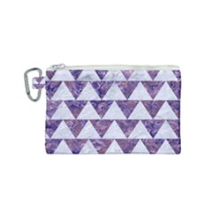 Triangle2 White Marble & Purple Marble Canvas Cosmetic Bag (small) by trendistuff