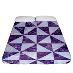 Triangle1 White Marble & Purple Marble Fitted Sheet (queen Size) by trendistuff