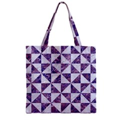Triangle1 White Marble & Purple Marble Zipper Grocery Tote Bag by trendistuff