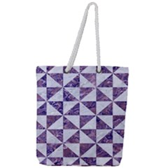 Triangle1 White Marble & Purple Marble Full Print Rope Handle Tote (large) by trendistuff