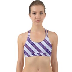 Stripes3 White Marble & Purple Marble Back Web Sports Bra