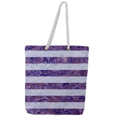 Stripes2white Marble & Purple Marble Full Print Rope Handle Tote (large) by trendistuff