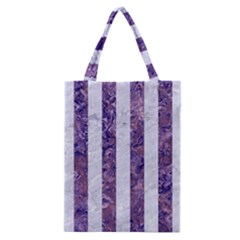 Stripes1 White Marble & Purple Marble Classic Tote Bag by trendistuff
