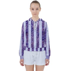 Stripes1 White Marble & Purple Marble Women s Tie Up Sweat