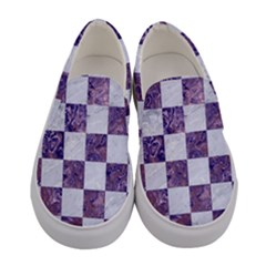 Square1 White Marble & Purple Marble Women s Canvas Slip Ons