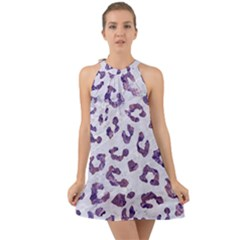 Skin5 White Marble & Purple Marble Halter Tie Back Chiffon Dress by trendistuff