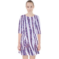 Skin4 White Marble & Purple Marble (r) Pocket Dress