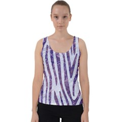 Skin4 White Marble & Purple Marble Velvet Tank Top