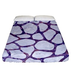 Skin1 White Marble & Purple Marble Fitted Sheet (queen Size) by trendistuff