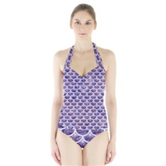 Scales3 White Marble & Purple Marble Halter Swimsuit by trendistuff