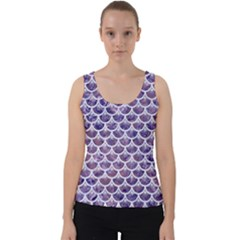 Scales3 White Marble & Purple Marble Velvet Tank Top