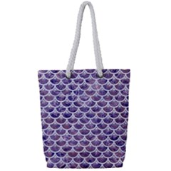 Scales3 White Marble & Purple Marble Full Print Rope Handle Tote (small) by trendistuff
