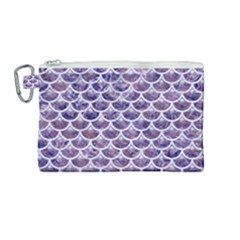 Scales3 White Marble & Purple Marble Canvas Cosmetic Bag (medium) by trendistuff