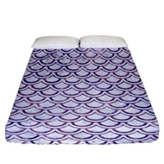 Scales2 White Marble & Purple Marble (r) Fitted Sheet (california King Size) by trendistuff