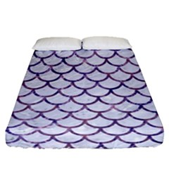 Scales1 White Marble & Purple Marble (r) Fitted Sheet (queen Size) by trendistuff