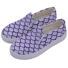 Scales1 White Marble & Purple Marble (r) Kids  Canvas Slip Ons by trendistuff