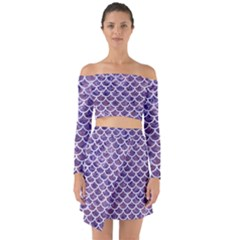 Scales1 White Marble & Purple Marble Off Shoulder Top With Skirt Set
