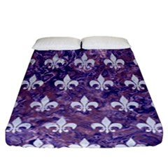 Royal1 White Marble & Purple Marble (r) Fitted Sheet (california King Size) by trendistuff