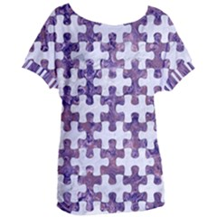 Puzzle1 White Marble & Purple Marble Women s Oversized Tee