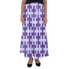 Puzzle1 White Marble & Purple Marble Flared Maxi Skirt by trendistuff