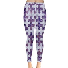 Puzzle1 White Marble & Purple Marble Inside Out Leggings