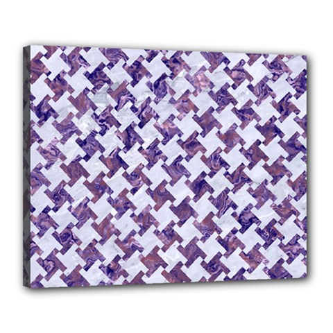 Houndstooth2 White Marble & Purple Marble Canvas 20  X 16  by trendistuff